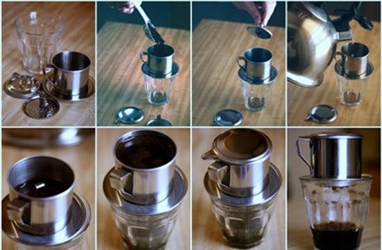 процесс заварки вьетнамского кофе